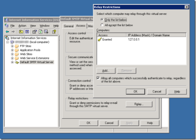 IIS security settings screenshot